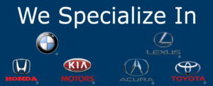 logos of automobiles we specialize in, Honda-Toyota-BMW-Lexus-Acura-KIA Automotive mobile repair service